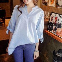 2019 Autumn Striped Cotton Shirt Female V-neck Short-sleeved Blouse Long Korean Casual Loose Women's Blouse Tops все цены