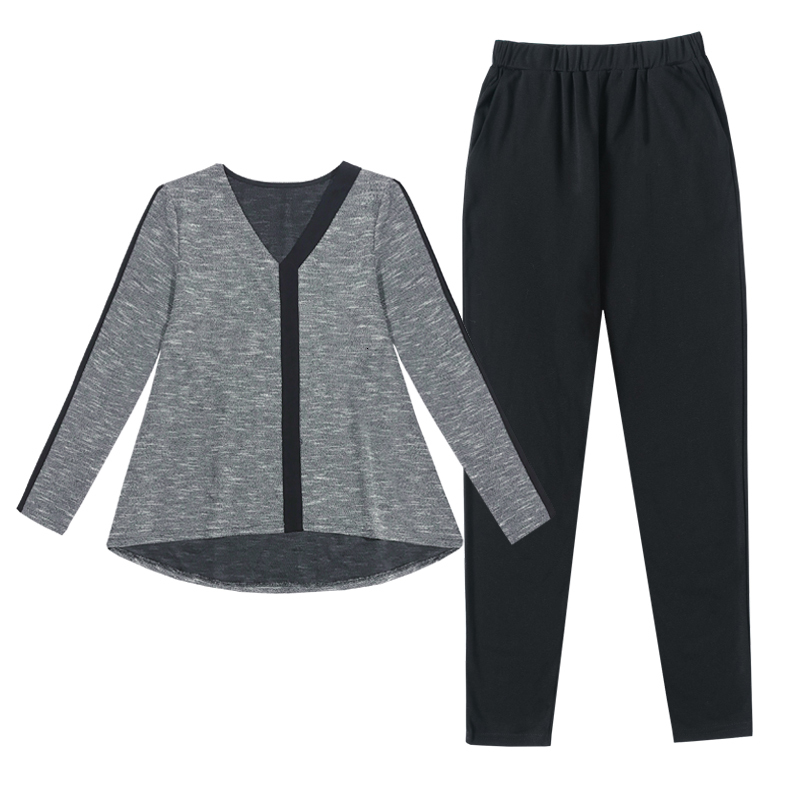 Gray Two 2 Piece Set Women Outfits Tracksuit Top And Pant Suits Plus Size Large Clothing Winter Striped Matching Co-ord Sets