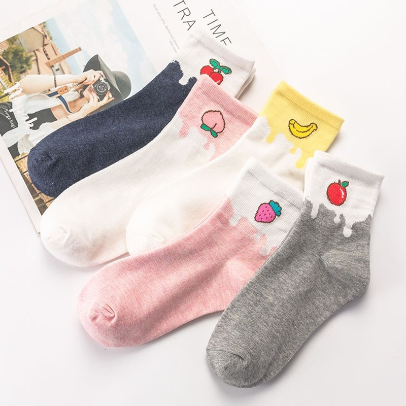 Cartoon Color Matching Fruit Milk Women Crew Socks Warm Cotton Harajuku Streetwear Fashion Casual Skarpetki Funny Cute Art Sock