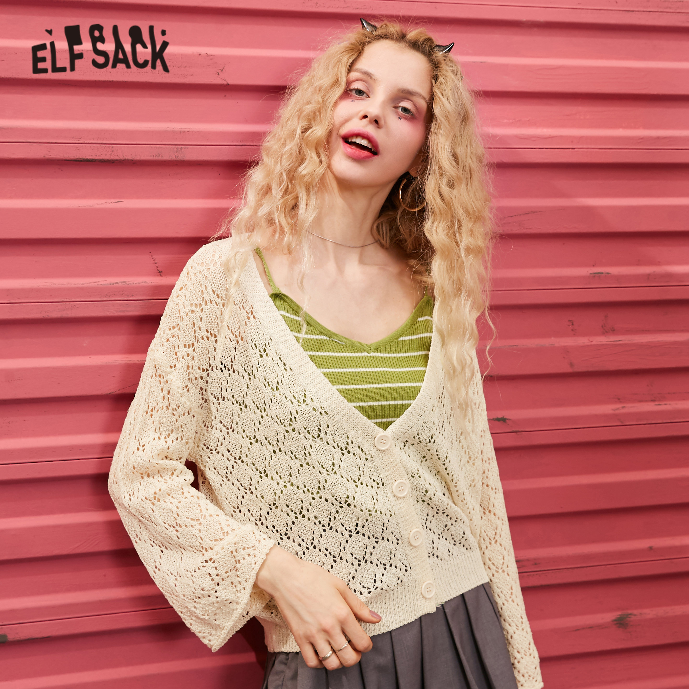 ELFSACK White Solid Cut Out Single Button Knit Casual Cardigan Women Sweaters 2020 Spring Pure Long Sleeve Korean Ladies Top