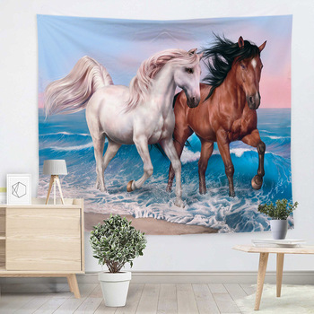 Creative Novelty Tapestry Horse Pattern Wall Hanging Living Room Dirt-resisting Functional Blasket Valance Carpet Beach Towel image