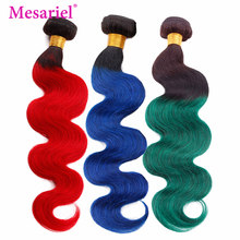 Mesariel Peruvian Body Wave Hair 3 4 Bundles Ombre Hair 1b Red/Blue/Green Bundles Remy Hair Extension Weave(China)