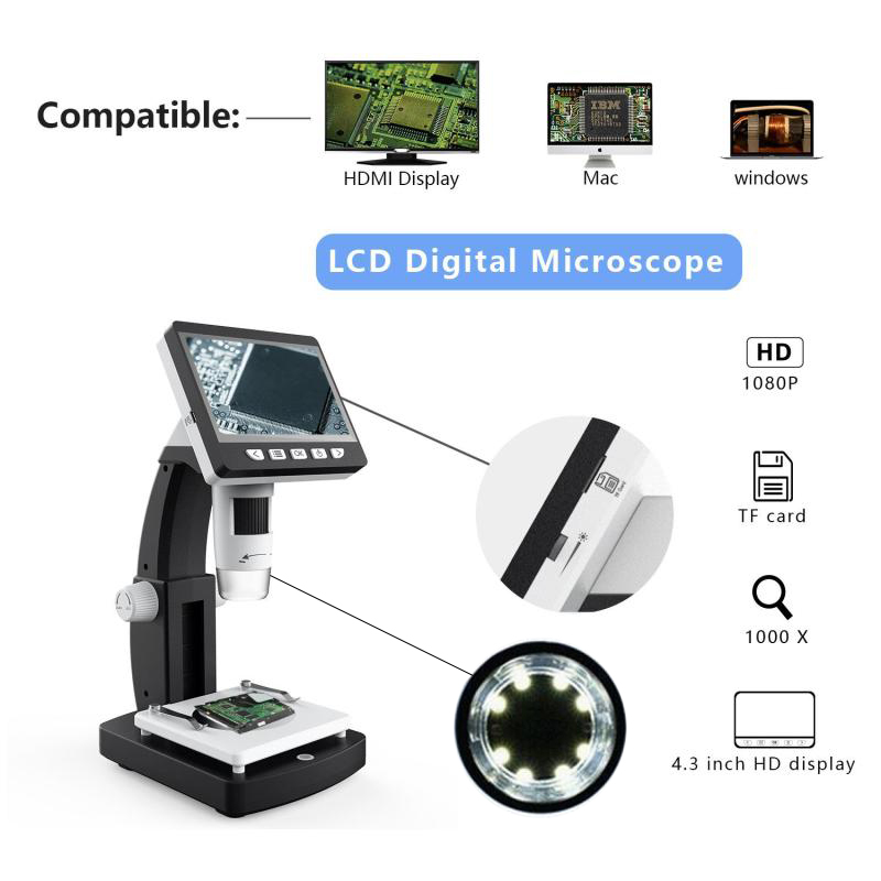 Dreamburgh 1000X 4.3 inch HD 1080P LCD Digital USB Microscope Phone Repair Magnifier Electronic Microscope for Soldering Reading|Microscopes| |  - title=