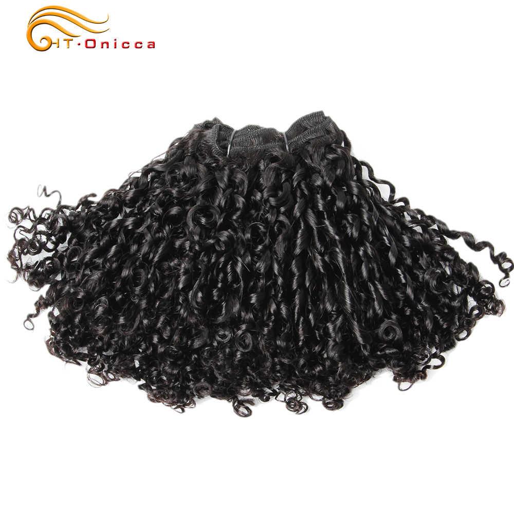 18 Inch Menschenhaar-verlängerung Bundles Doppel Gezogen Menschliches Haar 6 stücke Pixie Pissy Locken Bundles Peruanische Haar Natürliche Htonicca