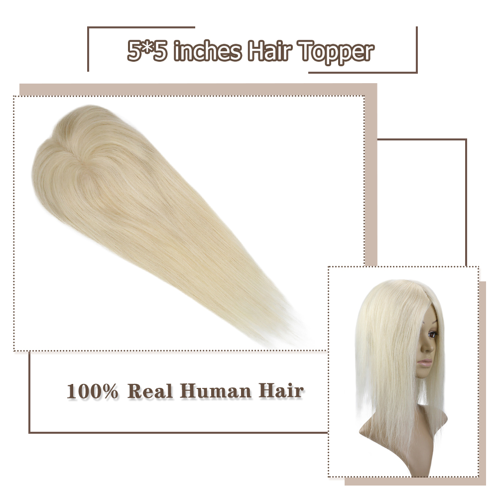 Moresoo 5*5 Hair Topper Human Hair Straight Clip In Hairpiece For Women #60 Platinum Blonde Machine-Remy