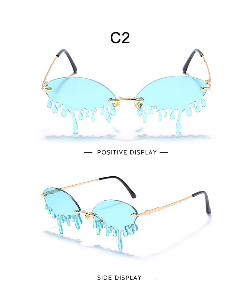 Fashion Rimless Sunglasses Women New Vintage Unique Tears Shape Steampunk Sunglasses Female Gafas Shades UV400 Oculos Feminino