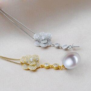 Image 2 - MeiBaPJ 2 Farben Echt 925 Sterling Silber Lange Kette Blume Schmuck Set Reis Perle Anhänger Ohrringe Hochzeit Schmuck für Frauen