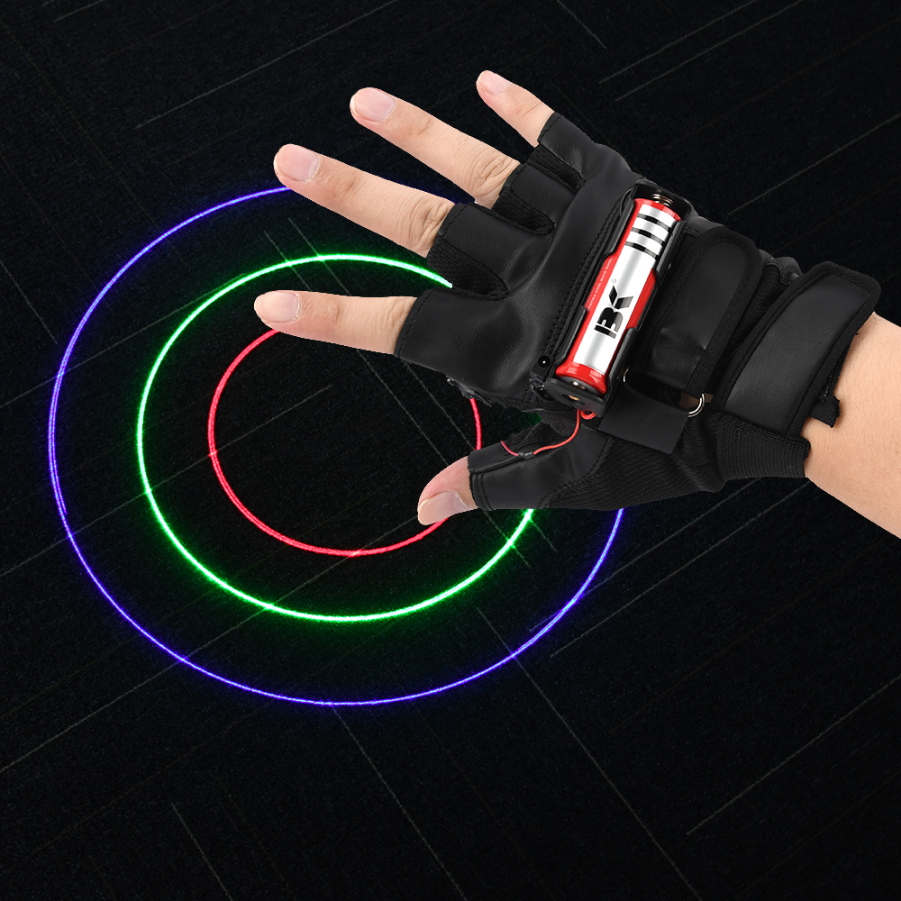 Fashion Multicolour Laser Gloves DJ Auto Rotating Laser Glove Laser Righg And Left Hand Light US / EU Plug For Dance Party Club