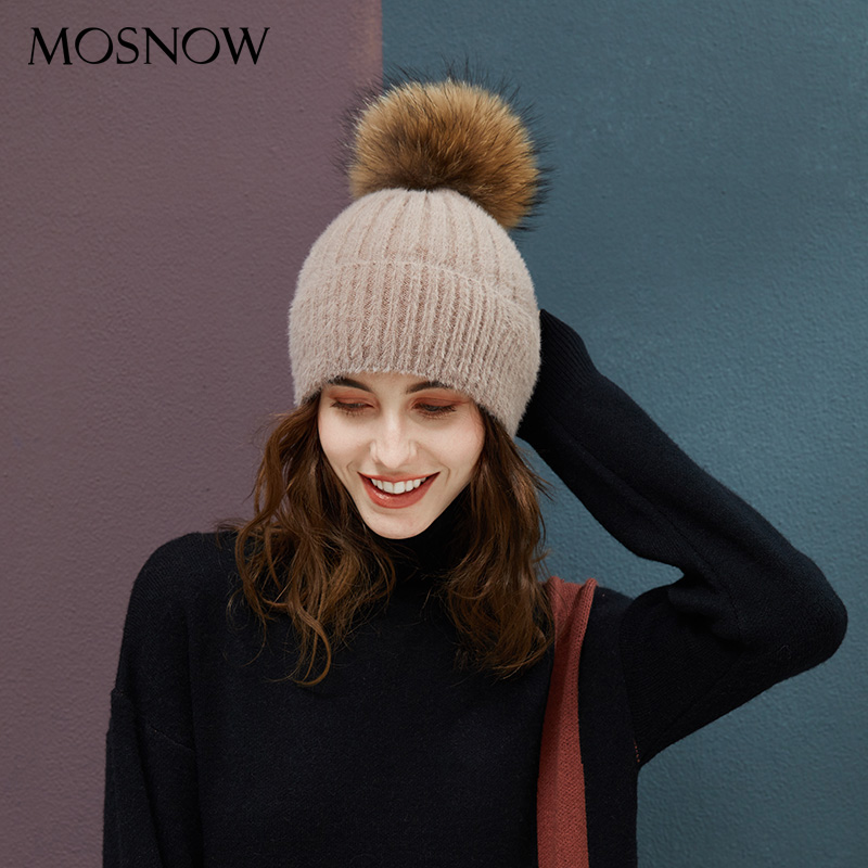 Fur Pompom Hats Beanie Winter Knitted Beanies Women Hats With Fur Ball Striped Solid Color High Quality Female Skullies Beanies