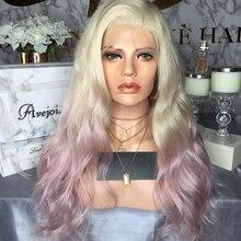 AVEJOICE mélangé rose couleur dentelle avant perruques pré plumé délié brésilien vague de corps perruques de cheveux humains pour femme noire densité 150%