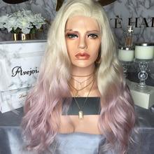 Avejoice cor de rosa misturada perucas dianteiras do laço pré arrancadas da linha fina perucas brasileiras do cabelo humano da onda do corpo para a densidade preta da mulher 150%