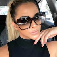 Lunettes de soleil femmes 2019 rétro grand cadre carré lunettes de soleil Vintage okulary lunette soleil femme UV400 oculos lunettes