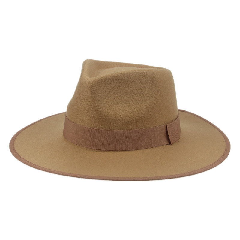 women hats fedoras big brim 9.5cm ribbon band outdoor panamas classic formal jazz felt hats men women wedding fedora panama hat