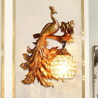 Vintage Art Deco Peacock Resin Wall Lamp Gold Vanity Luxury Bedroom Holiday Decorations for Home Wall Sconce Lamp Mirror Light|Wall Lamps| |  -