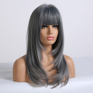 Image 2 - EASIHAIR Blue Ombre Straight Bob Wigs with Bangs Medium Length Synthetic Wigs for Women Heat Resistant Cosplay Wigs Fake Hair