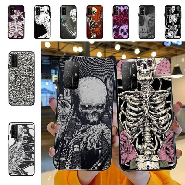 YNDFCNB Gothic Fashion Skull Phone Case for Huawei Honor 8x C 9 10 i lite play view 10 20 30 5A Nova 3 I