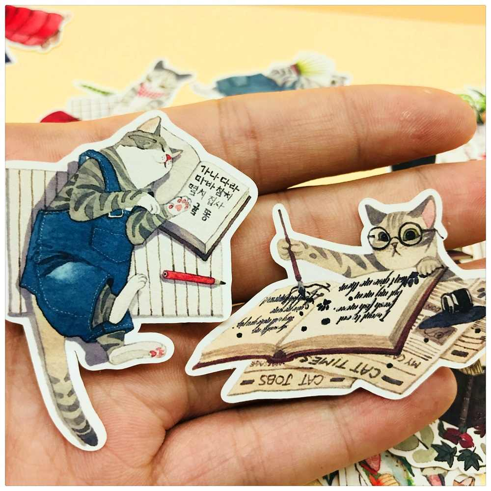 26 Stks/zak Vintage Leuke Cartoon Kat Droom Sticker Diy Craft Scrapbooking Album Junk Journal Gelukkig Planner Decoratieve Stickers
