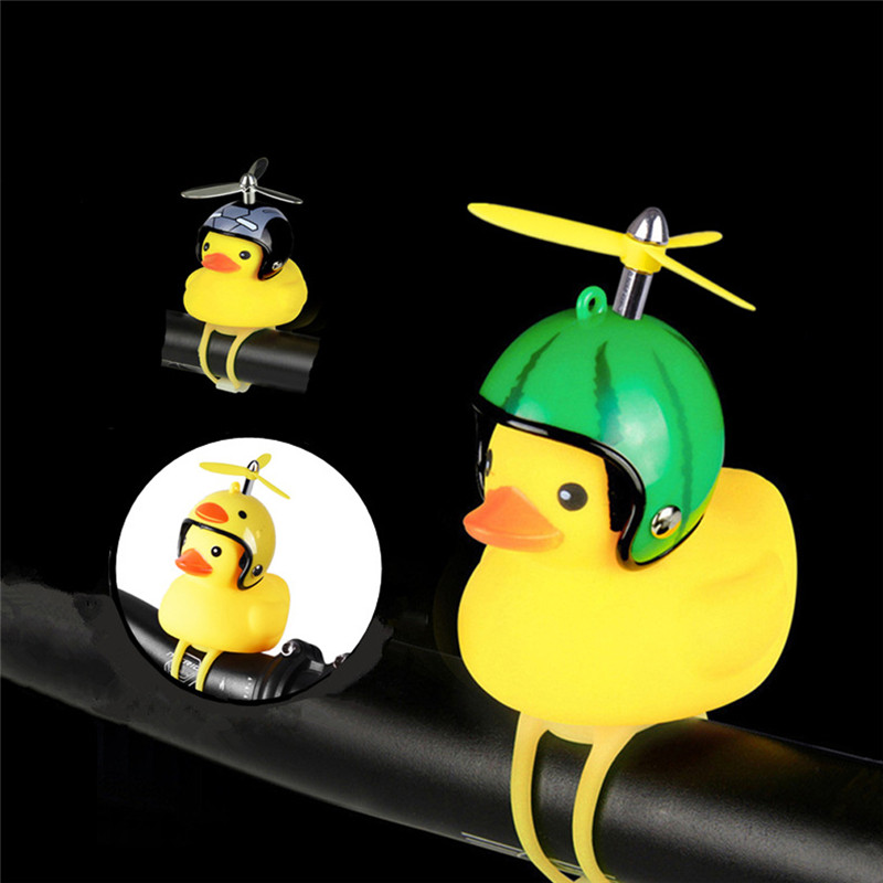 1pcs Little Duck Bicycle Bell With Bike Light Silica Gel MTB Road Bike Motor Helmet Riding Cycling Accessories Handlebar Bell