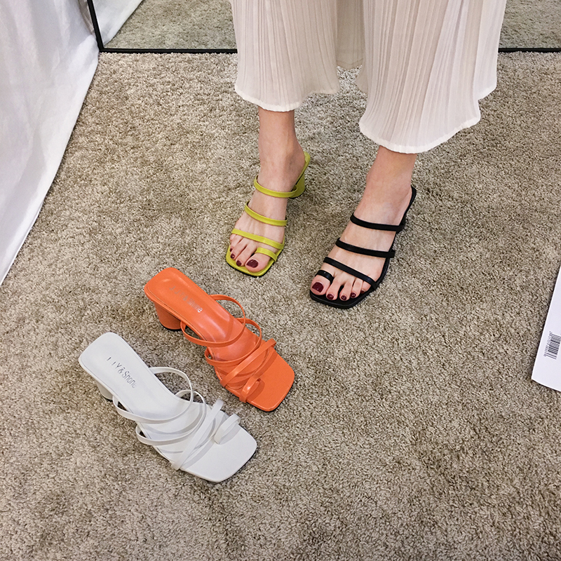 Women's Shoes Slippers Outdoor 2020 Spring And Summer New Thick Heels Roman Fashion Open-toe Thin Sandals