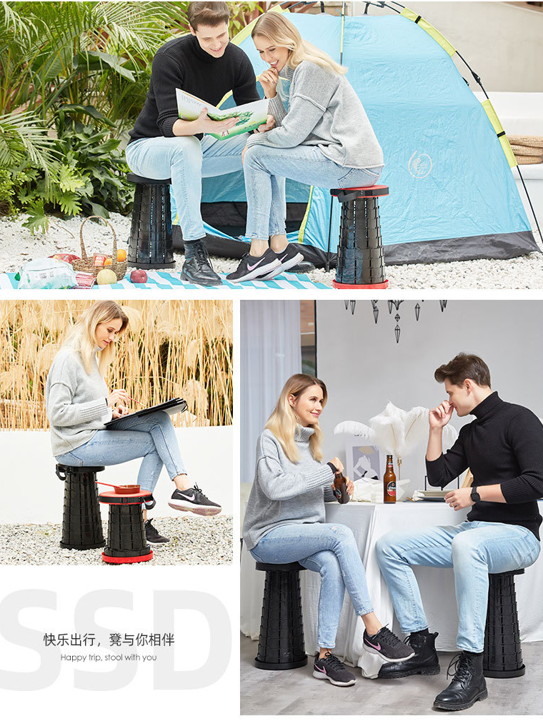 Portable Retractable Stool Outdoor Stable Folding Camping Fishing Chair Safe Durable Lightweight GYH