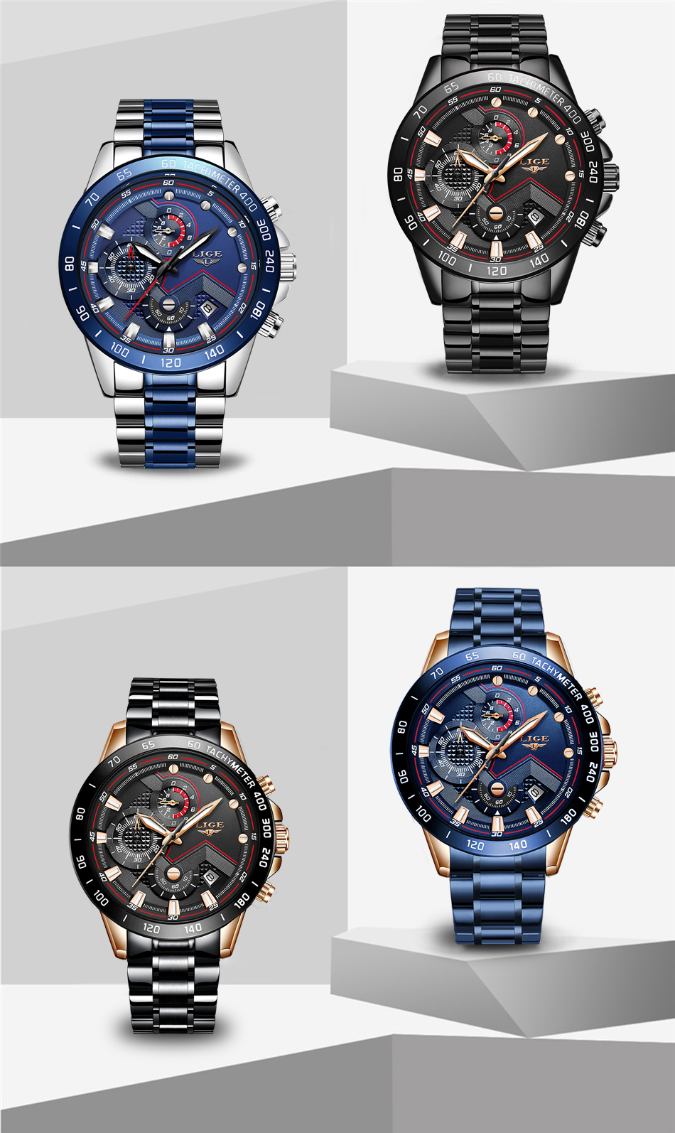 H9b459b1cf820495d84c3e48d240b2c8cA Relogio Masculino LIGE Hot Fashion Mens Watches Top Brand Luxury Wrist Watch Quartz Clock Blue Watch Men Waterproof Chronograph