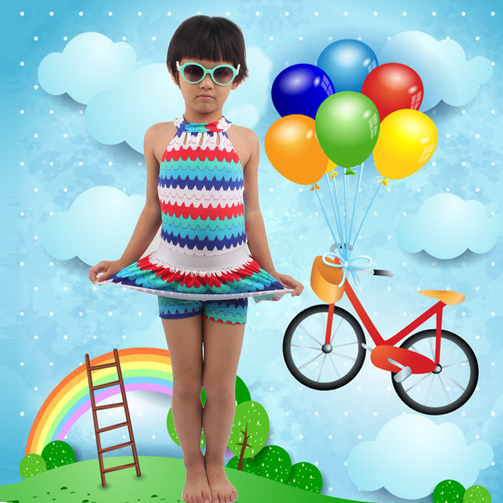 New Style KID'S Swimwear Girls Korean-style Dress-Big Boy Tour Bathing Suit Princess Students 8-12-Year-Old Swimwear