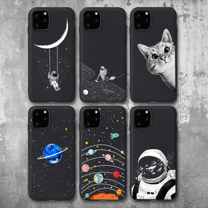 Pretty Space Moon Astronaut Phone Cases For iphone 7 8 X Case For iphone 6 7plus XR XS 11Pro Max Planet Star Frosted Soft Cover(China)