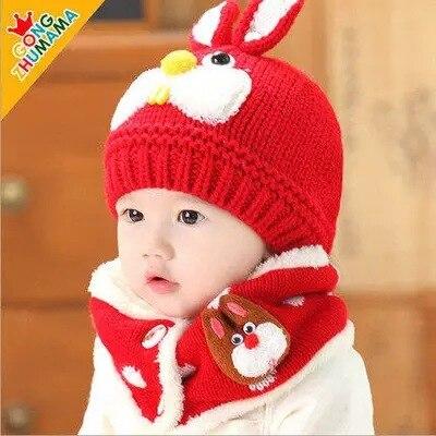 Autumn And Winter Baby Hat Kids Winter Hats Girls Boys Children Crochet Warm Caps Scarf Set Baby Bonnet Enfant Cartton Cute Hat