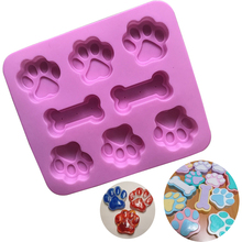 Dog Footprint Feet Mould Cake Molds Bone Mold Creative Cookie Fondant 3D DIY Cat Paw Silicone Bakeware Kitchen Accessories