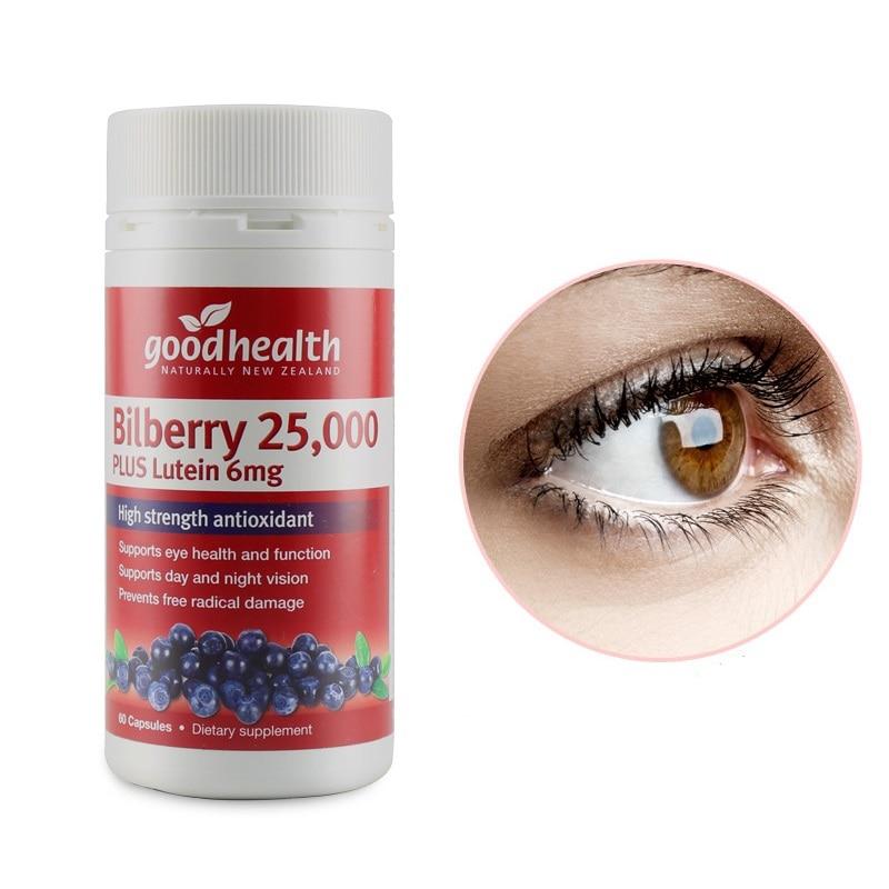 Good Health Bilberry 25000mg Lutein 6mg Eye Strength Focus Function Improve Macular Retina Lens Eyesight Night Vision Eye Strain
