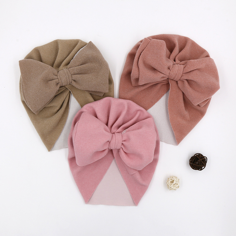 Solid Color Baby Hat Big Bowknot Baby Girl Hat Turban Knot Head Wraps Baby Kids Bonnet Beanie Newborn Photography Props