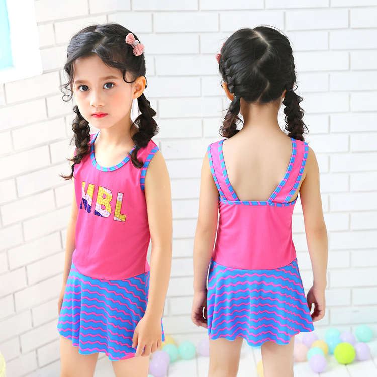 2019 New Style One-piece Swimsuit Children's Women's Small Children Spa Pure Cute Princess STUDENT'S Dress Swimdress