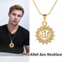 Collar con colgante musulmán de Dios religión, colgante de cadena con forma de sol árabe de diamantes de imitación, regalo bonito, 1 ud.
