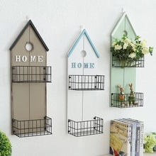 Wall Hanging Storage Basket Creative Shelf Iron Mounted Decoration Frame Display Rack Indoor