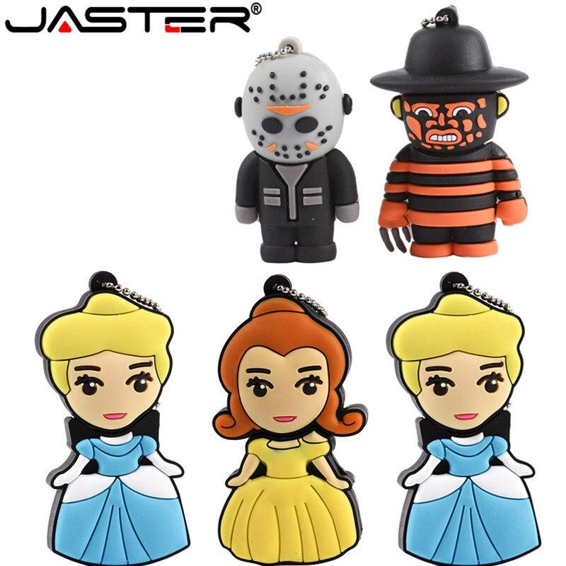 JASTER Beautiful 3 Colcur Woman 64GB Cartoon Pendrive 4GB 8GB 16GB 32GB Stick USB Flash Drive