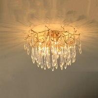 LED Modern Copper Crystal Chandelier Lighting Dining Room Luxury Gold Luster Kitchen Molecular Art Pendant Lamps