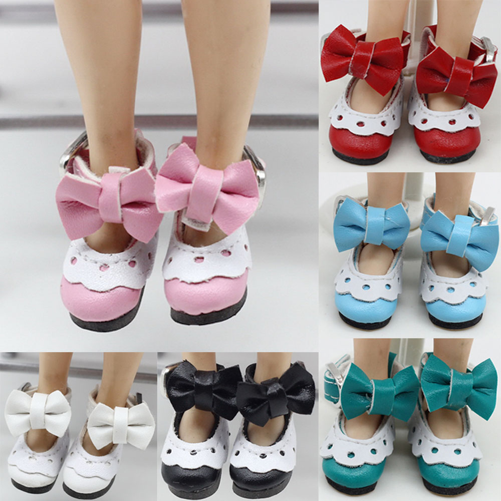 12 Inch Leather Lace Shoes For Blyth/AZ/Licca/Pullip Doll 1 Pair 2.8cm Cute Sweet Lacy Shoes With Bowknot Doll Accessories