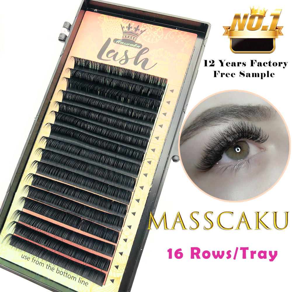 MASSCAKU 16rows/case 8~16mm And Mix Premium Natural Synthetic Mink Individual Eyelash Extension Makeup Cilia Professional