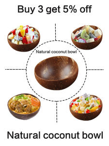 12-15cm Natural coconut bowl set handmade coconut shell tableware wood spoon dessert fruit salad mixing bowl rice Ramen bowl