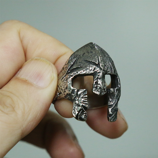 Vintage King of Sparta Helmet Ring Men Boys 316L Stainless Steel Sparta Rings Cool Motor Biker Jewelry 2020