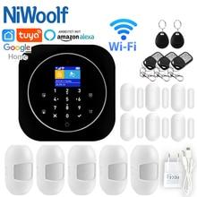 Casa sistema de alarme wi fi gsm alarme intercom controle remoto discagem automática 433mhz detectores ios android tuya app controle toque teclado