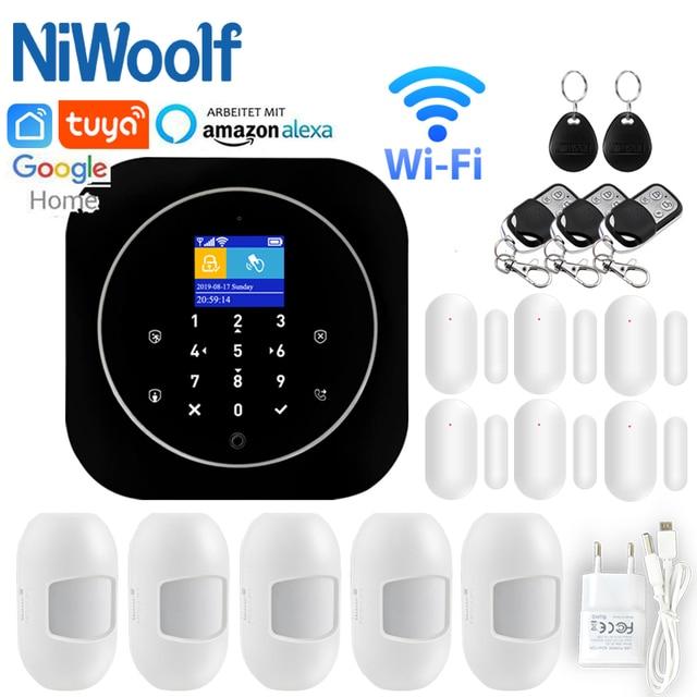 홈 알람 시스템 와이파이 GSM 알람 인터콤 원격 제어 Autodial 433MHz 감지기 IOS 안드로이드 Tuya APP 제어 터치 키보드