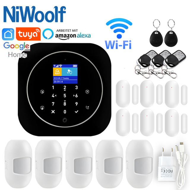 Home Alarm System Wifi GSM Alarm Intercom Remote Control Autodial 433MHz Detectors IOS Android Tuya APP Control Touch Keyboard