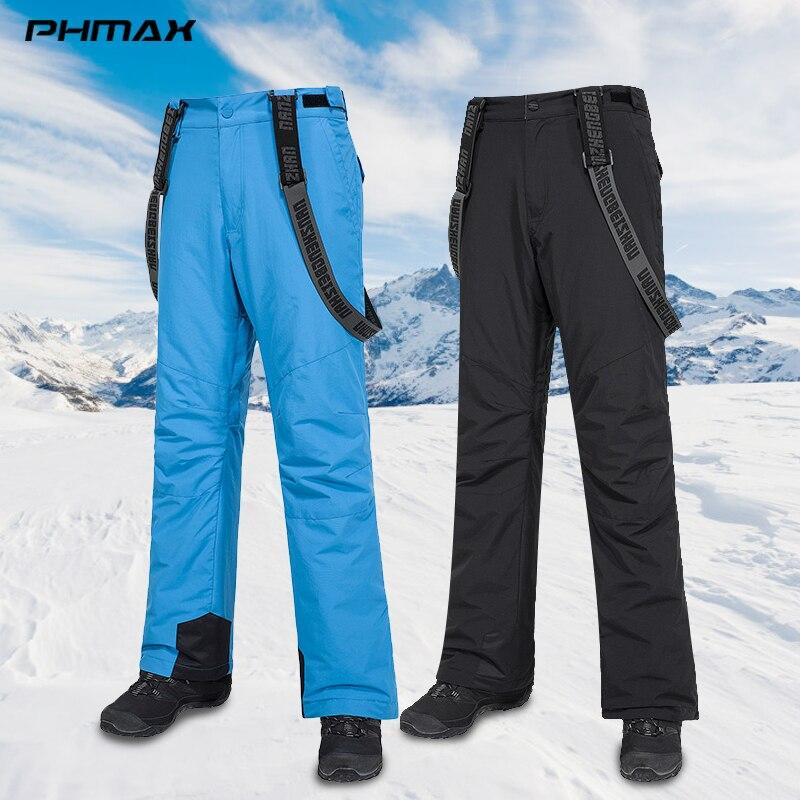 PHMAX Winter Ski Pants Men Ski Bib Pants Windproof Outdoor Snowboard Warm Pants Thermal Running Snow Skating Skiing Trousers