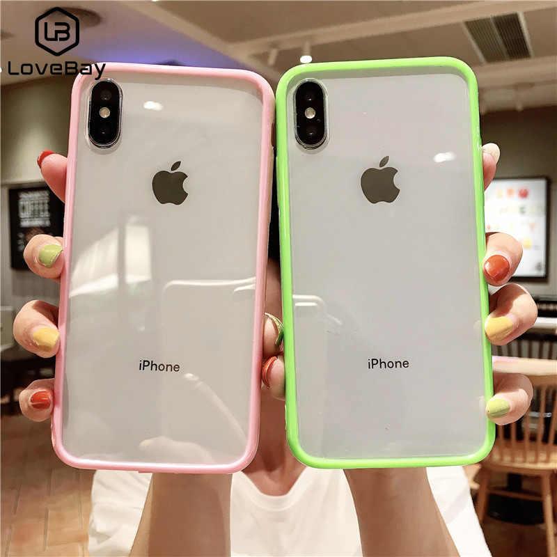 Caso transparente da cor dos doces de lovebay para o iphone 11 pro x xr xs max macio tpu acrílico simples casos de telefone para o iphone 6 s 7 8 plus x