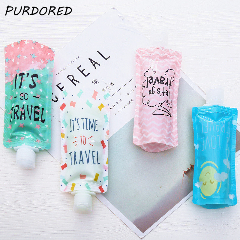 PURDORED 2 Pcs/set Portable 100ml Travel Liquid Dispenser Bag Shampoo Storage Container Letters Travel Lotion Bottle Squeeze Bag