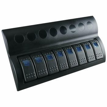 Marine boat Waterproof 8 Gang Blue LED Black Rocker Switch Panel