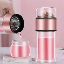 Unisex New Tea Separation Cup Creative Double-Layer Glass Daily Tea Cup glass bottle water water bottle tea bottle office business glass water bottle portable double wall glass tea bottle with tea infuser creative transparent glass gift bottle