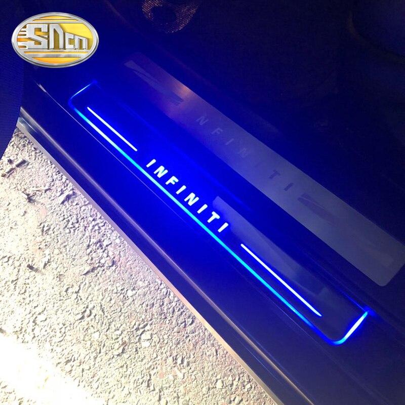Car LED Door Sill For Infiniti Q50 Q70 QX70 FX35 FX37 FX30 FX50 G37 QX80 QX60 Ultra-thin Dynamic Welcome Light Scuff Plate Pedal