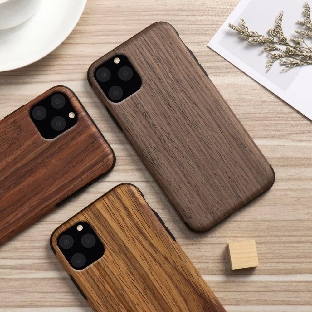 LAPOPNUT Case for IPhone 11 Pro Xs Max Xr X 7 8 Plus 6 6s 5 5s SE 2020 12 Wood Grain Flexible TPU Silicone Hybrid Slim Cover